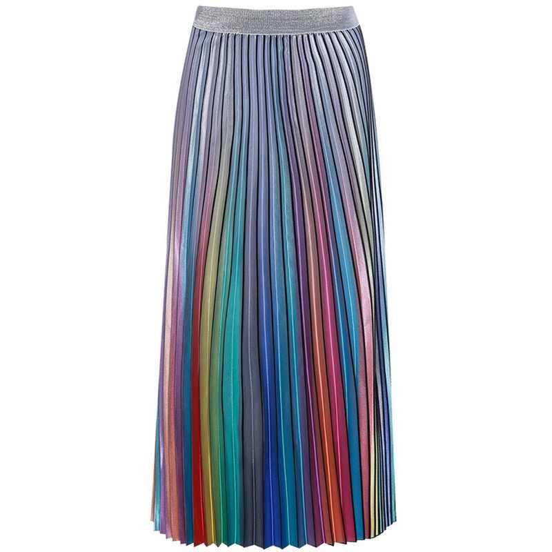 bf1465e8f ... Women's Long Skirt Summer Skirts 2019 Spring Luxury Rainbow Striped Pleated  Skirt High Waist Glitter Vestidos ...