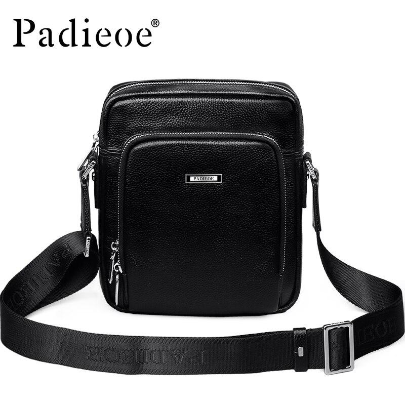 Padieoe Men Shoulder Bag New Fashion Business Casual Messenger Bags Famous Brand Genuine Small Crossbody Bags Free Shipping