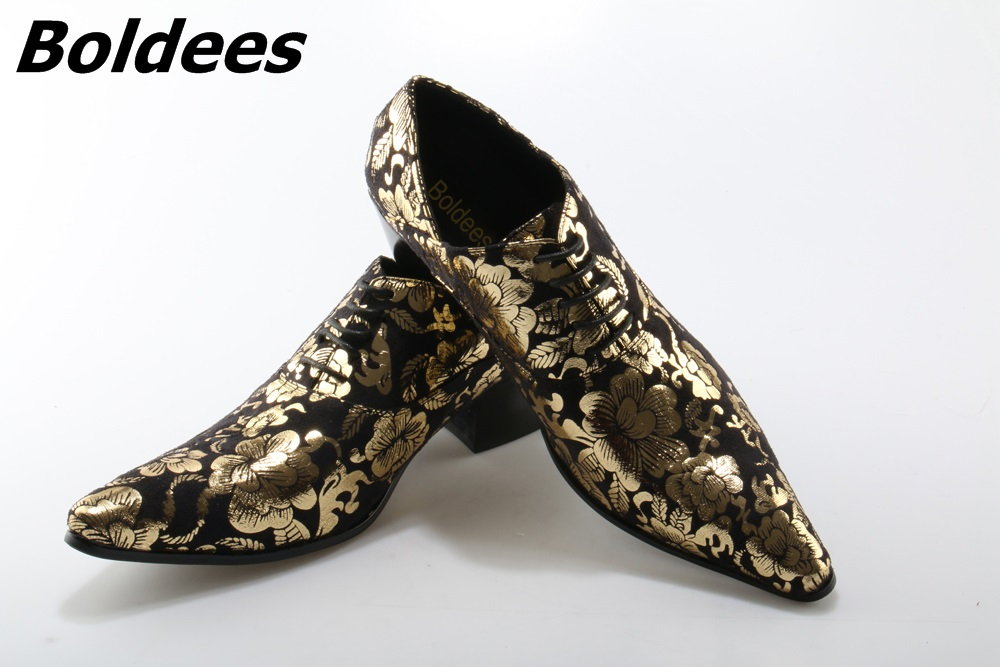 Boldees Genuine Leather Shoes Men Retro Gold Gloral Print Mens Dress Shoes Lace Up Party Mens Shoes High Heels Large Size 46 цена 2017