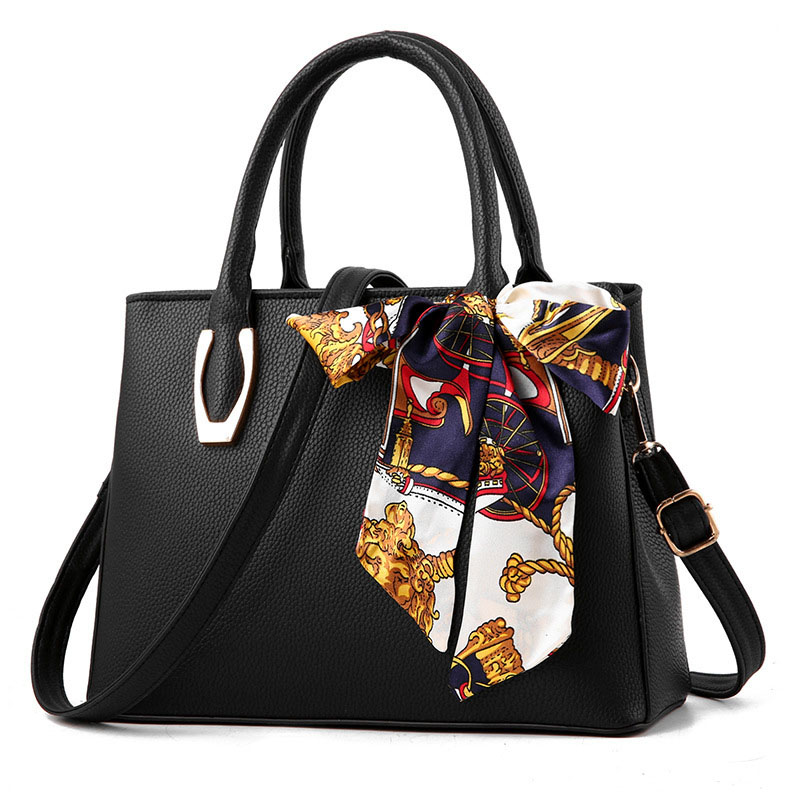 Sac femme avec foulard en soie femme 2019 mode pu cuir litchi portable grand sac dames sac à bandoulière femme sac à main sac a main