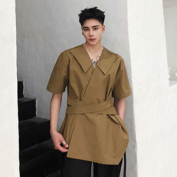 High Quality Summer New Medium Long Coffee Three Quarter Sleeve Fashion Shirt Korean Trend Personality V-neck Casual Shirts