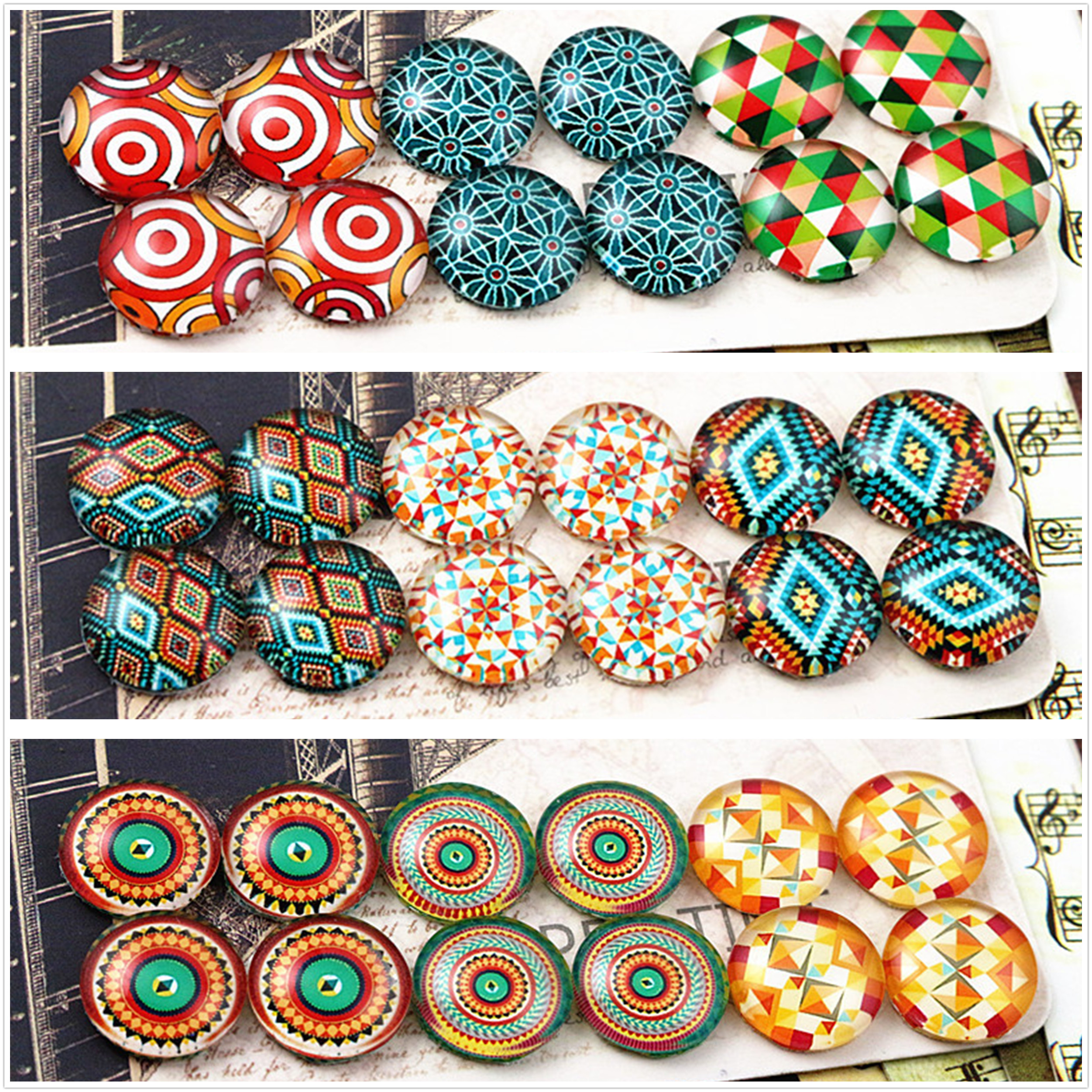 12pcs/lot (One Set) Three Style 12mm Classic Totem Handmade Glass Cabochons Pattern Domed Jewelry Accessories Supplies