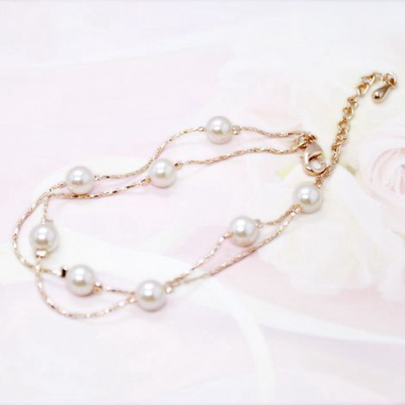 MIGGA Rose Gold Color Double Layers Imitation Pearl Bracelet for Women Ladies Girls Gift Beaded Jewelry