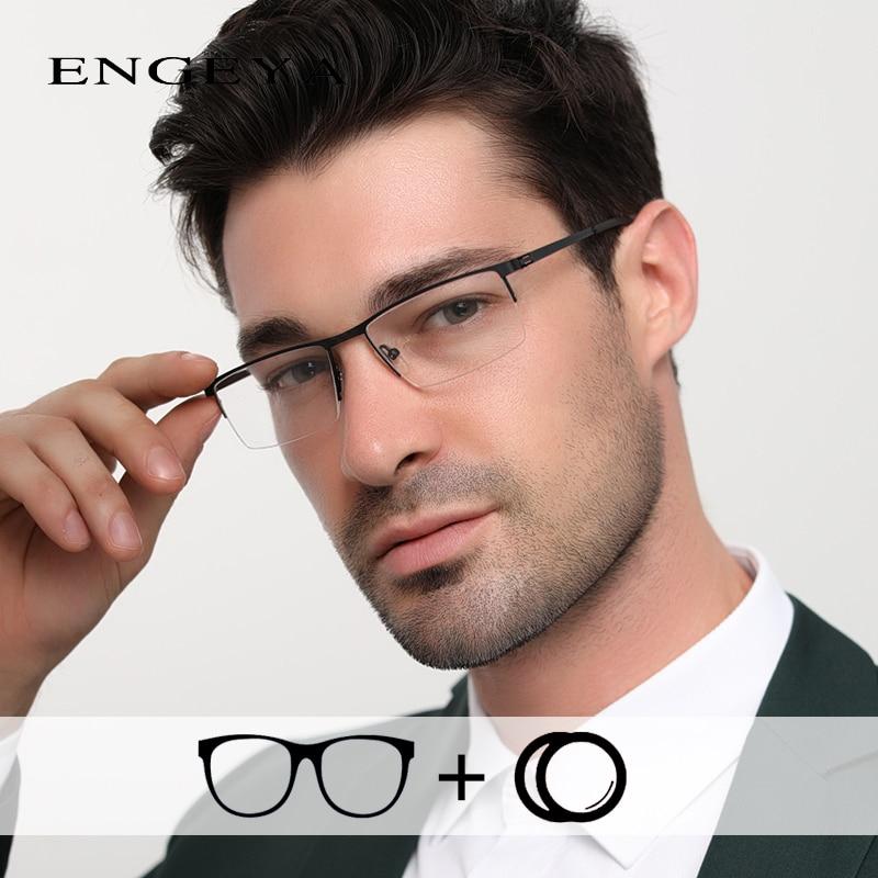Alloy Glasses Men Clear Half Eyewear Fashion Transparent Optical Prescription Eye Glasses for Computer IP8047