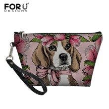 FORUDESIGNS Beagle Dog Printing Make Up Bags Women Travel Organizer Cosmetic Cases Ladies Fashion Toiletry Wash Kit Storage