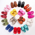 2017 Новый жесткий резиновая подошва ручной летние девочки обувь кисточкой замша искусственная кожа детские мокасины дети новорожденный moccs оптовая