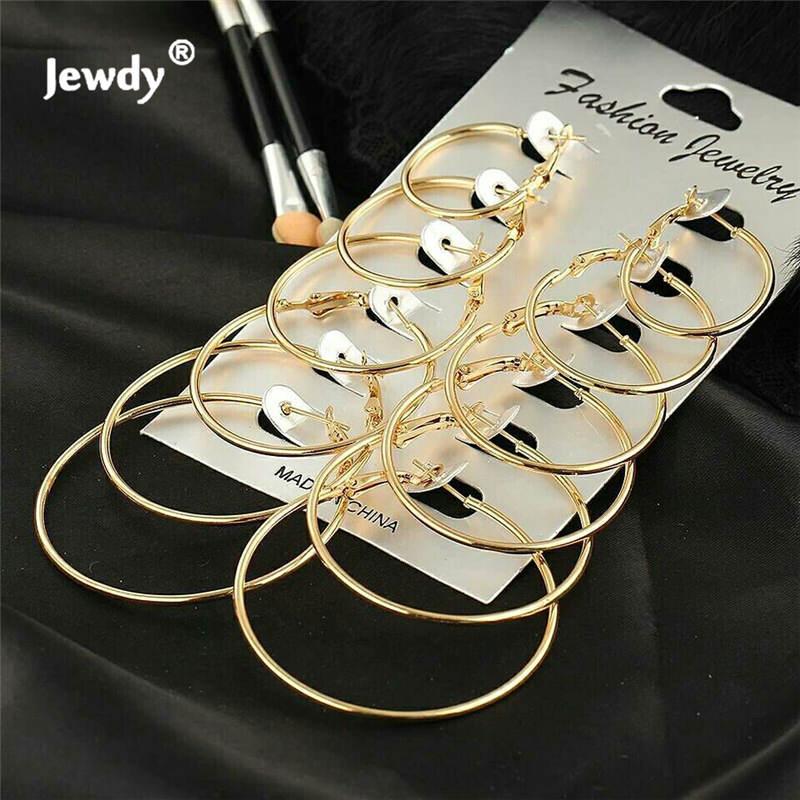 Big Hoops Earrings 2020 Summer 6 Sets Circle Eardrop Personalized Hoop Earring Ring Ear Rings Combination Women Fashion Jewelry