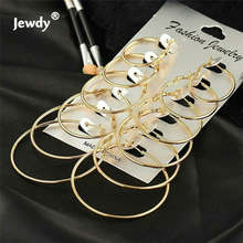 Quick sell through the explosion of Korean version of the earrings 6 sets of sets of personalized ring earrings combination(China)