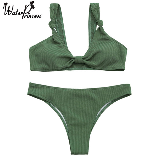 2bbb13a681 Water Princess Bikini Set 2017 Sexy Thong Biquini Green Ribbed Knotted  Bowknot Push Up Brazilian Beach Bathing Suit Swimwear