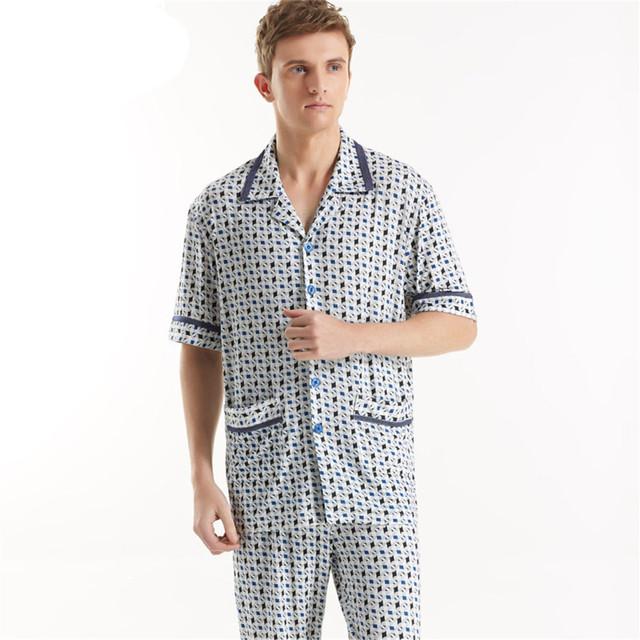 Felpa pijamas para hombres Con Cuello En V Manga Corta 100% algodón ropa de Noche fija impreso cardigan salón Homewear pijamas adultos onesie de los hombres