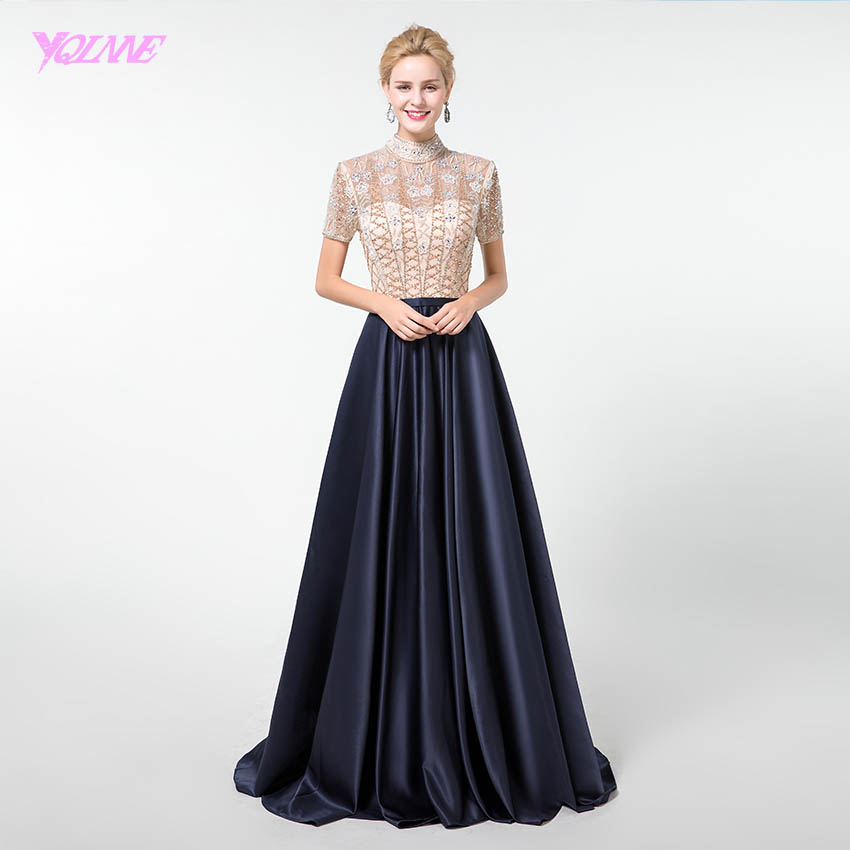 YQLNNE Navy Blue Long   Prom     Dresses   2019 Crystals Satin Formal   Dress   with Sleeve YQLNNE