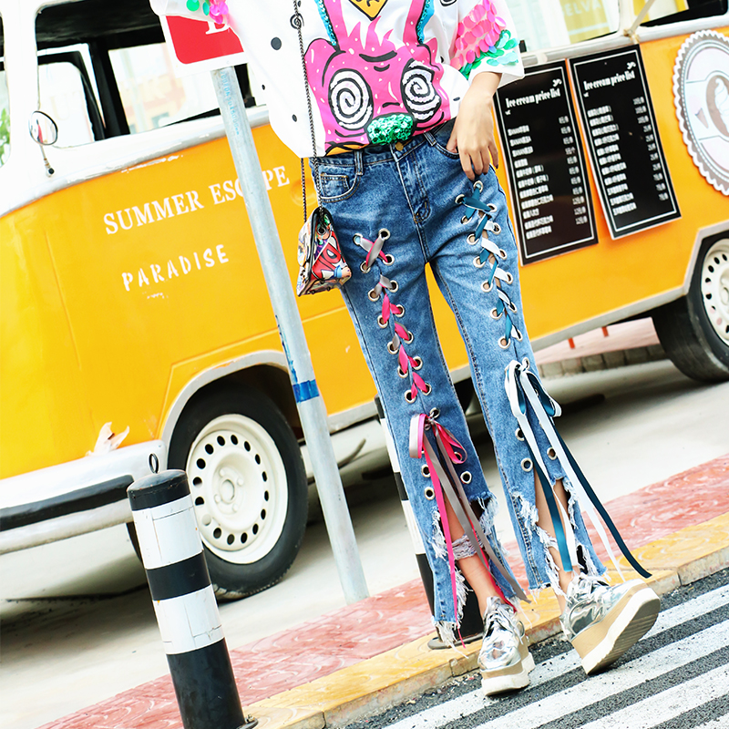 Thailand tide brand personality irregular hole jeans loose casual hollow out cross strap bandage trousers women бумажник thailand brand