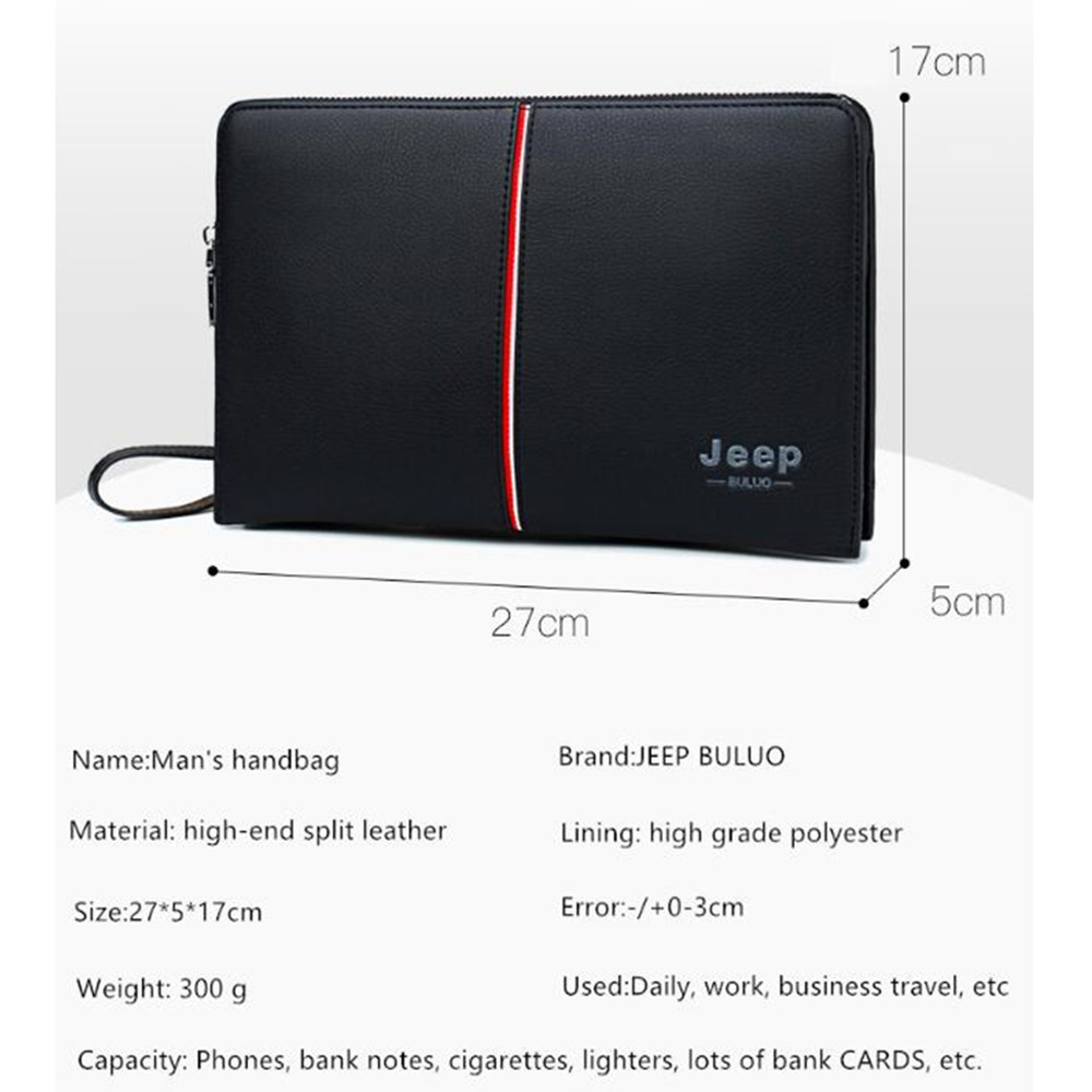 Image 4 - JEEP BULUO Luxury Brand Men's Handbag Day Clutches Bags For Phone High Quality Spilt Leather Wallet Hand bag Large Capacity Male