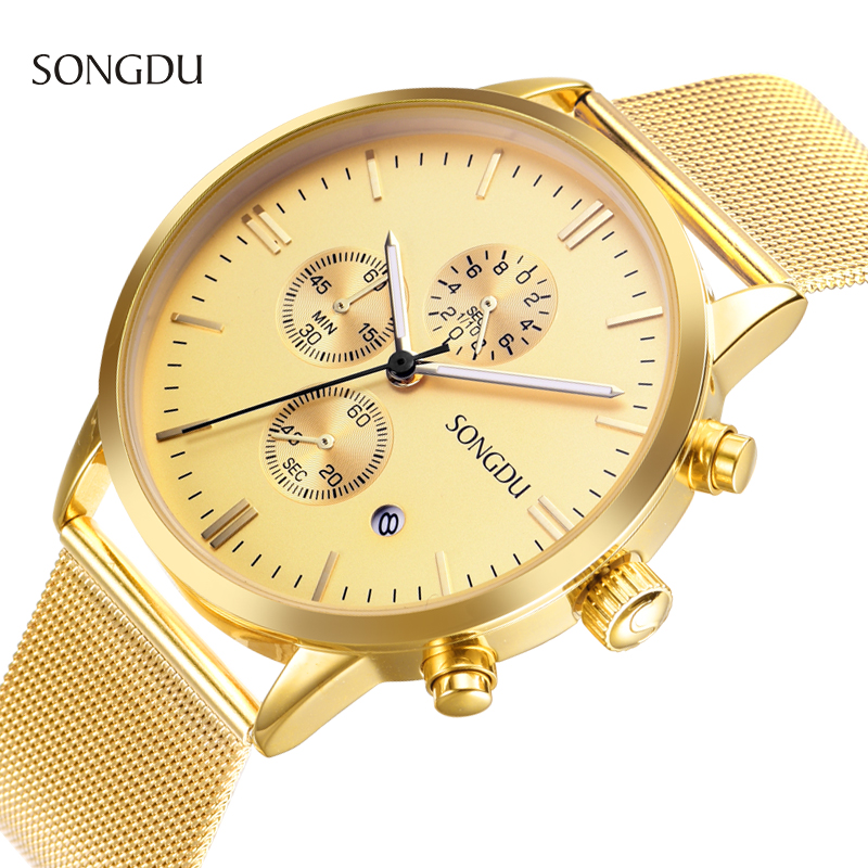 popular gold and silver watches men buy cheap gold and silver songdu brand men s watches simple dress gold steel mesh strap quartz hours ultra thin silver fashion