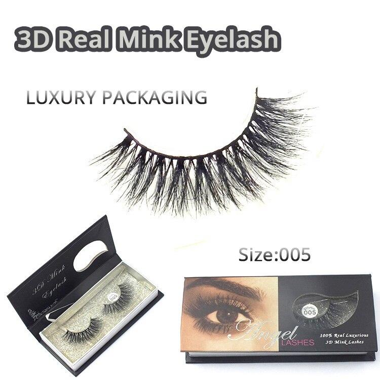 1 / ps 3D Mink False Eyelashes 100% Real Mink päls Handgjorda - Smink