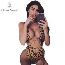 Adriana Arango 2019 Sexy One Piece Swimsuit Leopard Swimwear for Women Hollow out Monokini Bandage Bodysuit Beachwear(China)