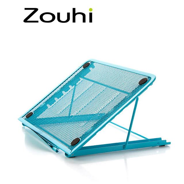 Portátil mini cooling pad suporte para ipad, suporte de ângulo ajustável de metal dobrável para pc tablet android, terno para casa e escritório