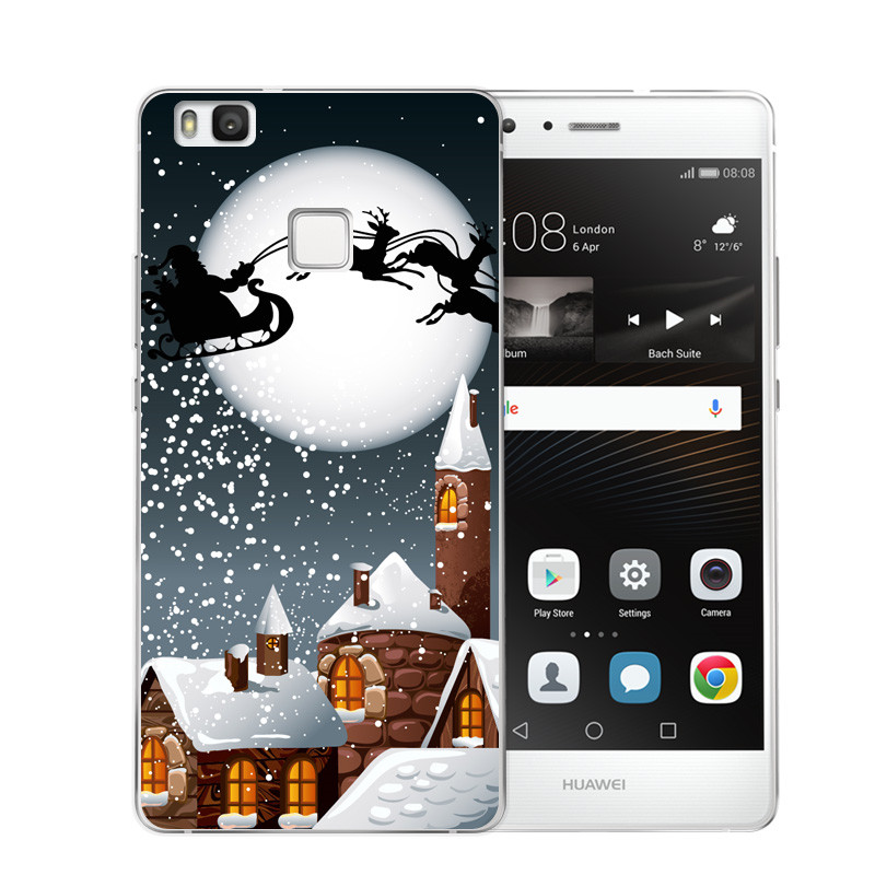 Christmas Santa Claus Soft Silicon Cover Case For Huawei P8 Lite Cover For Coque Huawei P8 P9 Lite P10 Phone Skin