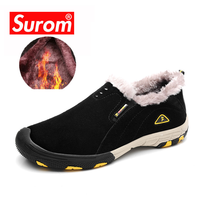 SUROM Winter Plush Waterproof Warm Shoes Outdoor Climbing Camping Leather Sneakers Winter Sports Light Non-slip Wearable Loafers