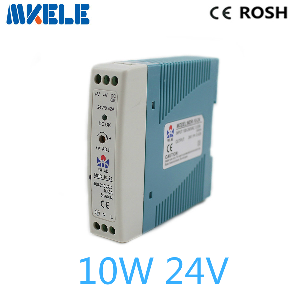 mdr-10-24 10W 0.42a 24v Mini Size Din Rail power supply ac dc switching Power Supply with Ce Approv for led driver compact size mdr 100 24 din rail led driver 100w 24v output dc dinrail power supply