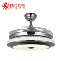 Retractable Ceiling Fans Y4205 Dimmable Three Light Super Quiet Nickel LED Ceiling Fan with ABS Blades