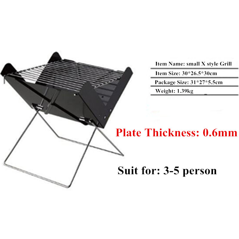 More Convenient Black Iron X Style Foldable BBQ Oven Outdoor Portable Barbecue Charcoal Grill Can Fits For 3 5 Person In Grills From Home Garden On