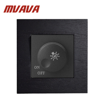 MVAVA 86*90MM Black Artificial Wood Panel Light Dimmer Luxury Light Switch Electrical Switches LED Dimmer IR Knob Control Switch