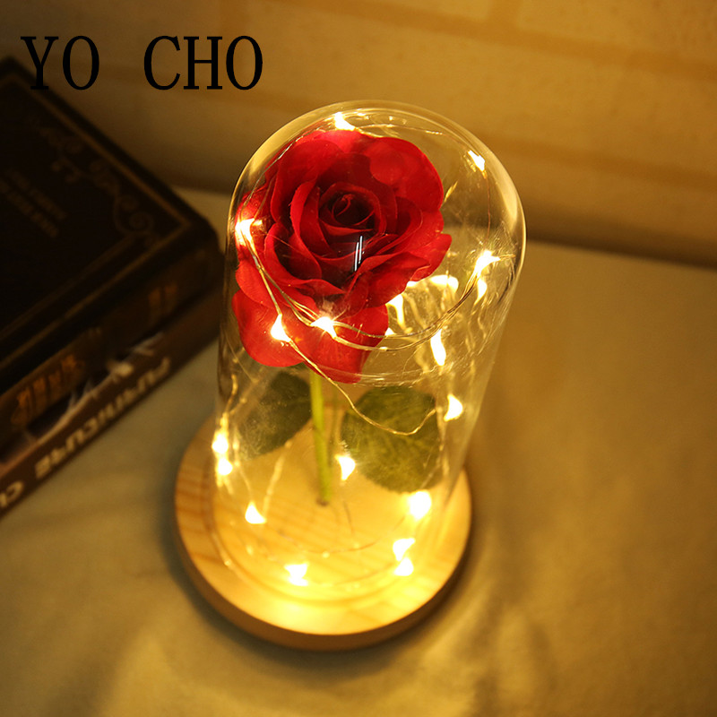 YO CHO Artificial Flowers Plastic Fake Roses Branch In a Flask For Wedding Gifts Christmas Decorations for Home Porte Silk Flore in Artificial Dried Flowers from Home Garden