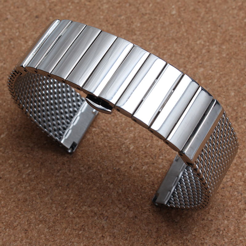 Silver watchband accessories mens Bracelet fashion shark Mesh Style straps18mm 20mm 22mm 24mm for brand watches band strap 2016 marksojd