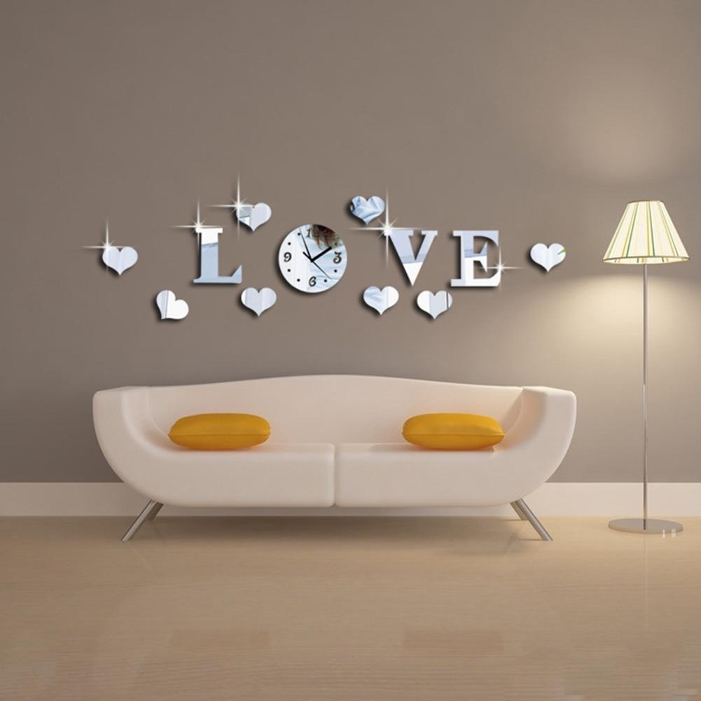 Color de Plata creativo Espejo de Acrílico 3D Efecto Carta de AMOR Mecanismo Del Reloj Etiqueta de La Pared Decoración Del Hogar Adesivo De Parede