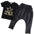 Toddler Baby Clothes 2016 Baby Boy King of the Castle T-shirt+Faux Leather Harem Pants Boy Outfits Set