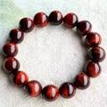Ojo de Tigre Rojo Natural Pulsera 12mm Perlas Ojo de Tigre Rojo de Piedra Pulseras para Hombres Mujeres Pulsera Accesorios de La Joyería de Jade