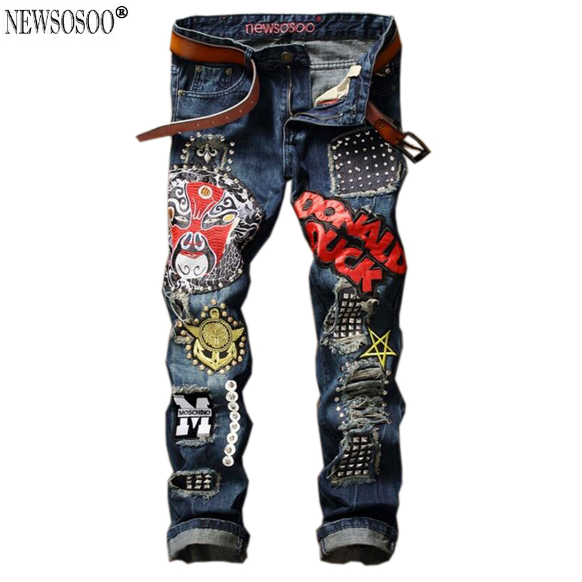 Newsosoo brand name ripped hole men jeans fashion Italy style patch Beaded Owl funny mask straight jeans uomo MJ116 цены онлайн