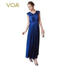 VOA Silk Blue Brief Women Dresses Robe Longue Femme Ete Pleated Short Sleeves Drapted Long Vestidos Female Enegant Maxi A7769