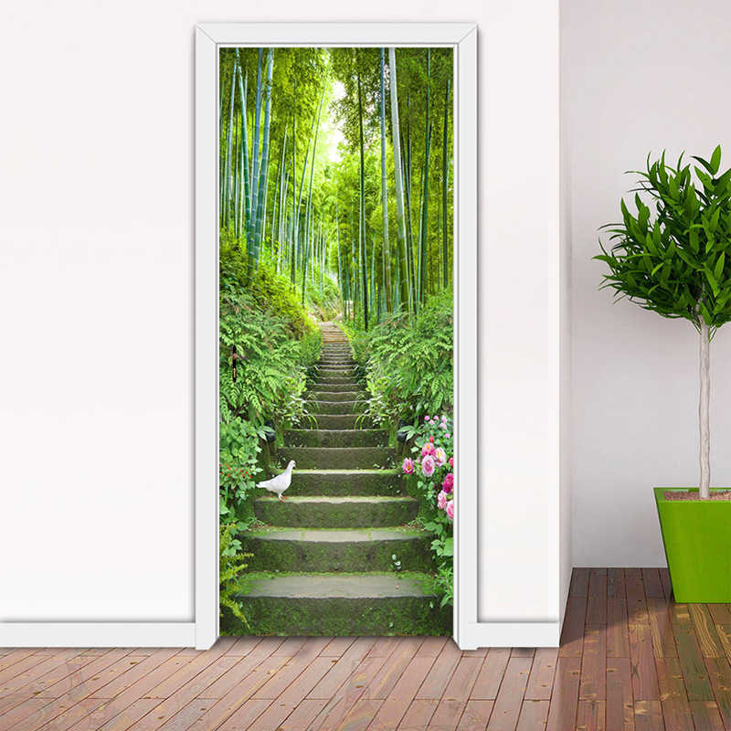 PVC samoprzylepne wodoodporne naklejki na drzwi 3D zielony las bambus drabiny murale tapety salon wystrój domu naklejki ścienne 3 D