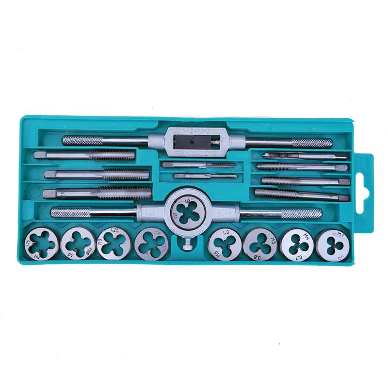 20pcs Metric Handle Taps Dies Sets Kits Screw Thread Taps Carbon Steel M3-M12 Adjustable Taps Dies Wrench Screw