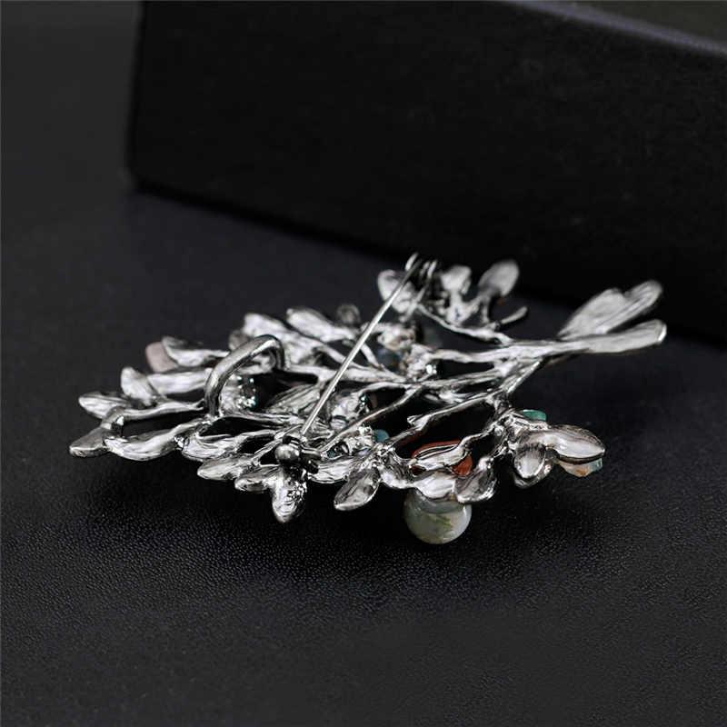 Kristal Alami Batu Kuno Bros Berlian Imitasi Tanaman Cabang Daun Pohon Pin untuk Wanita Perjamuan Hadiah Buket Pin Pesta Perhiasan