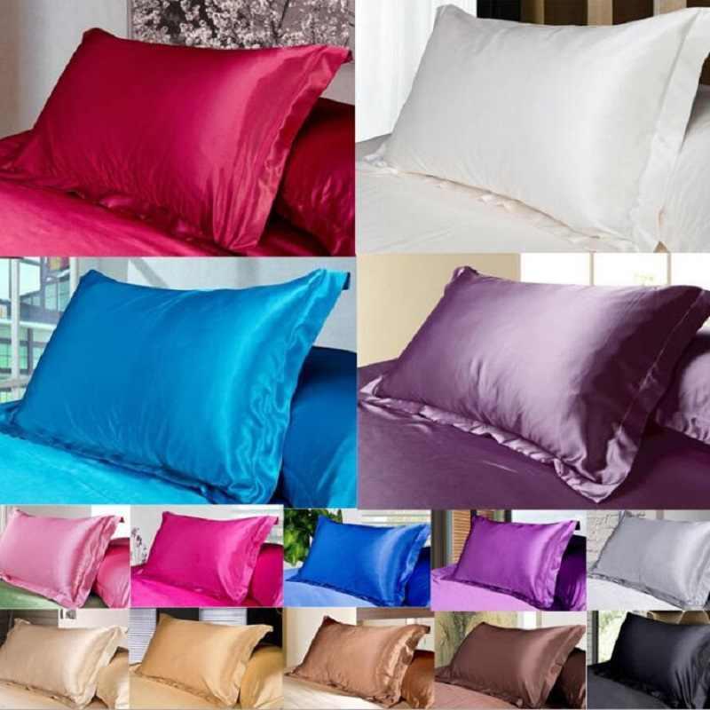 2pcs beauty queen standard silk y satin pillow case cover 48x74 cm