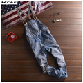 2016 New Men's Fashion casual washed hole ripped skinny jean overalls denim jumpsuit suspenders trousers slim bib pants