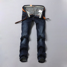 New 2017 Spring Summer Fashion Mens Straight Slim Casual Jeans Mens Dark Blue Jeans Pants Men Cotton Trousers