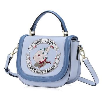 Women Leather Embroidery Handbags Girl Shoulder Bags Messenger Bag Female Totes Braccialini Style Art Cartoon Rabbit Ribbon