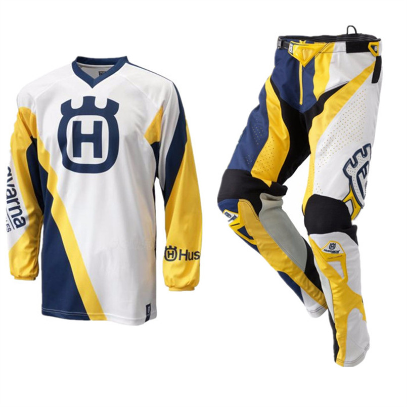Free Shipping Classic Style Motocross Racing Combo Blue White Yellow Retro Dirt MotorBike Riding Gear Off-Road Jersey&Pants