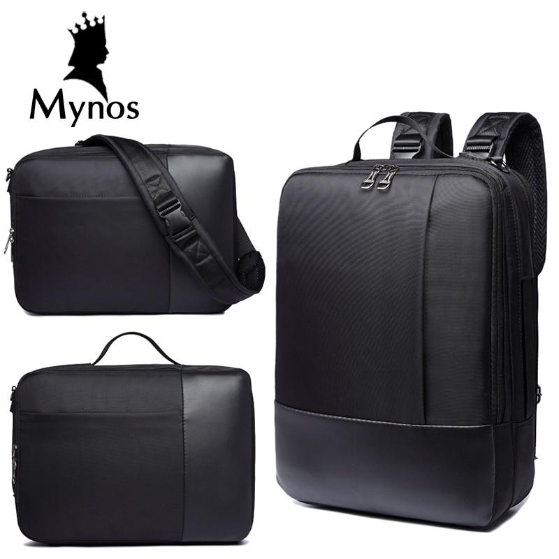 ФОТО MYNOS New Casual Nylon Backpack Men Laptop Bag Handbags Crossbody Bag Travel Large Capacity Notebook Multifucntion Backpack Male