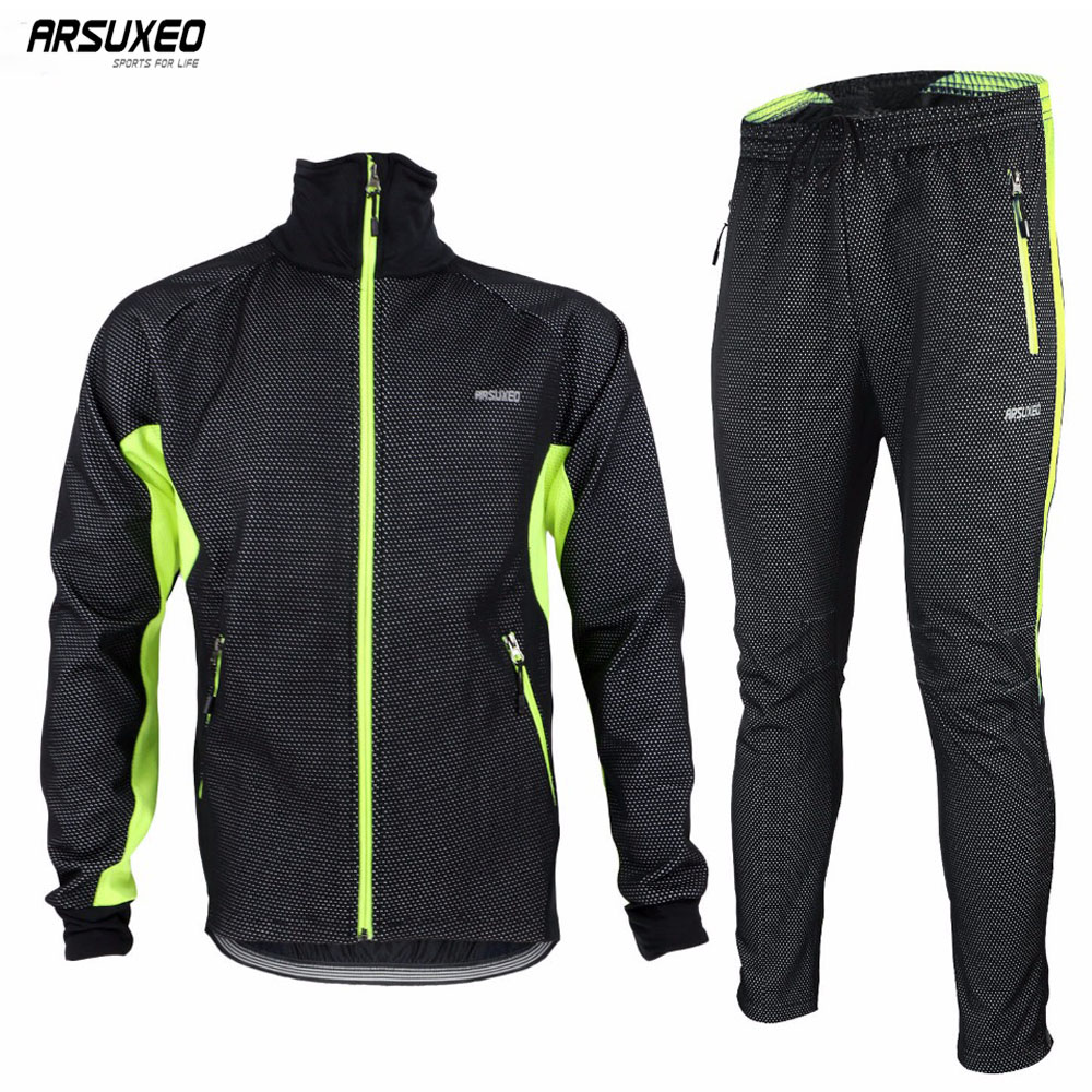 ARSUXEO Mens Winter Warm Up Thermal Cycling Bike Bicycle Jacket Pant Uniform Windproof Waterproof 14A
