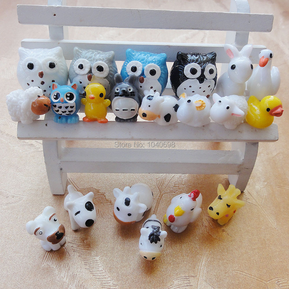 20pcs/lot mix resin horse/rabbit/owl/sheep/duck/Chicken/cow/giraffe/Swan ect kawaii cabochon crafts DIY home decorations