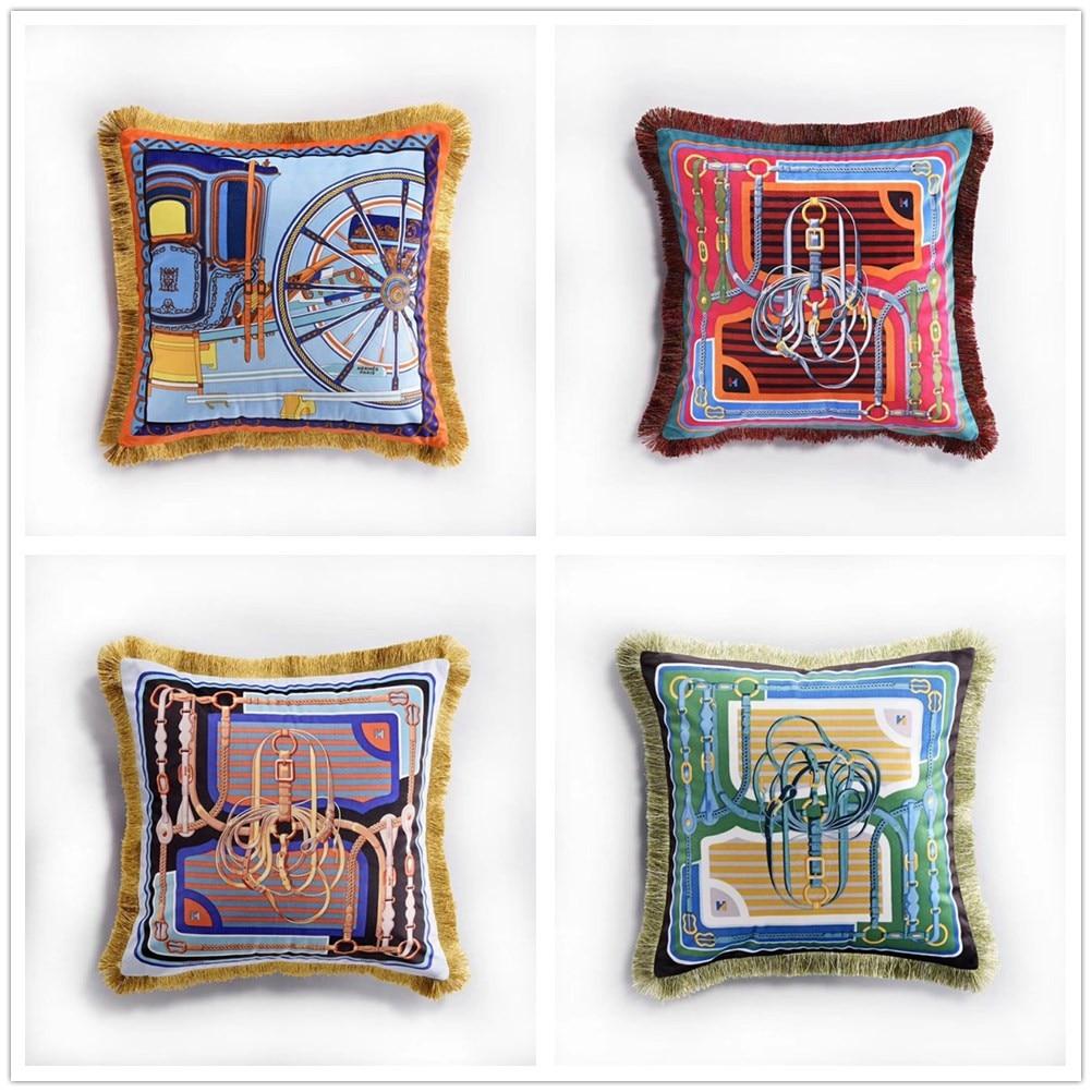 Luxury Double Printed Velvet Tassel Cushion Cover Soft 45x45cm Pillow Cover Pillowcase Home Decorative Sofa Throw Pillows Chair