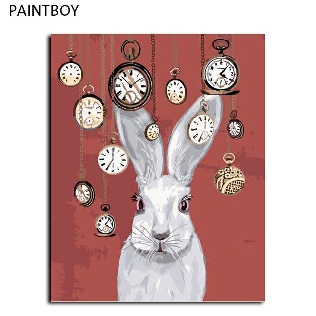 Lapin Sans Cadre Mur Art Peinture À L'Huile De Diy By Numbers Diy