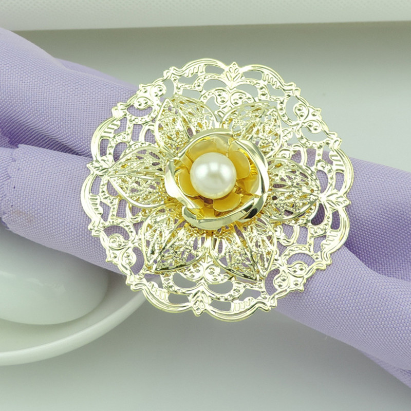 DoreenBeads Vintage Style Metal Alloy Flower Napkin Ring Table Decoration Serviette Holiday Wedding Restaurant Party Banquet 1PC