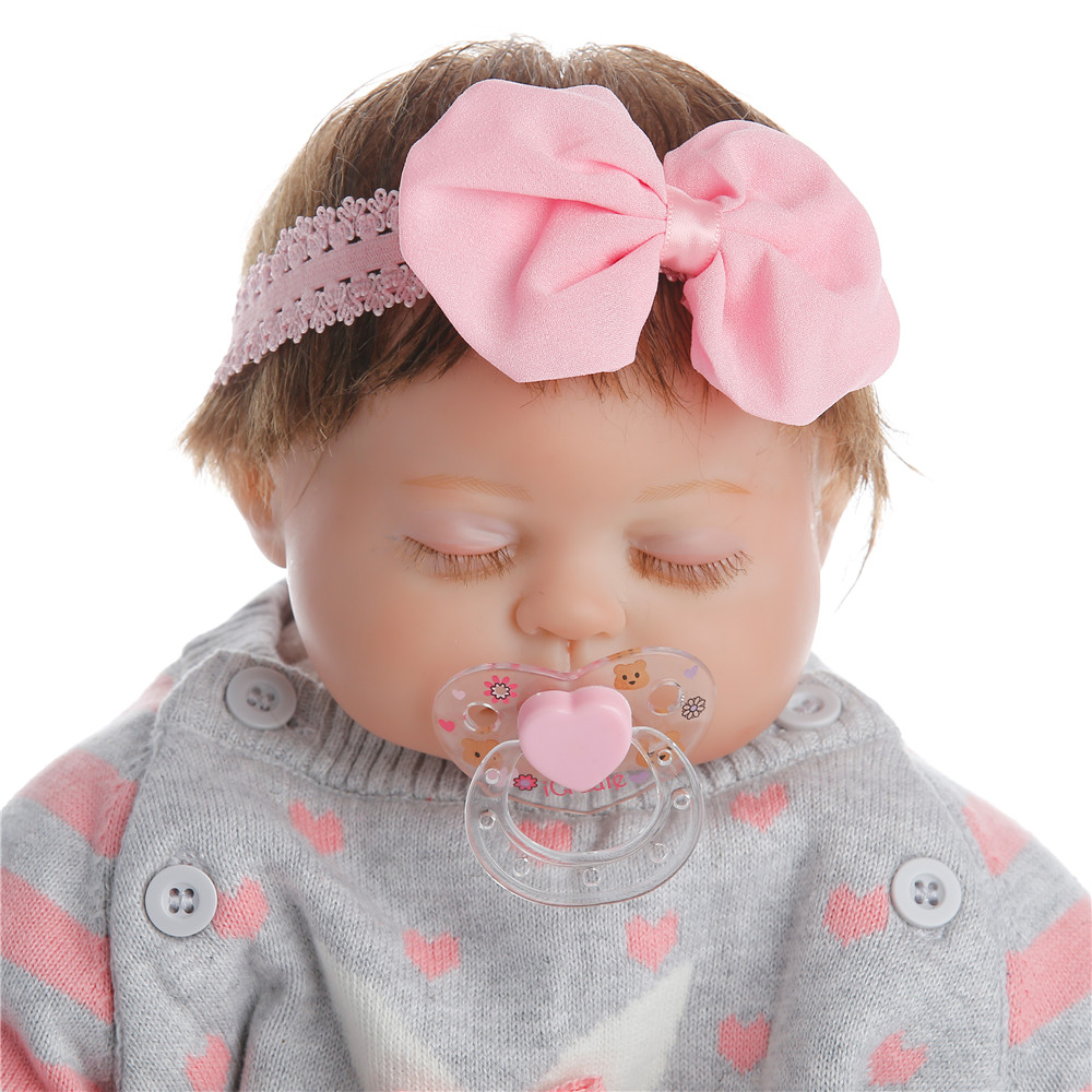 SanyDoll 22 inch 55 cm hot sale solid silicone reborn baby Beautiful dress lovely sleeping doll