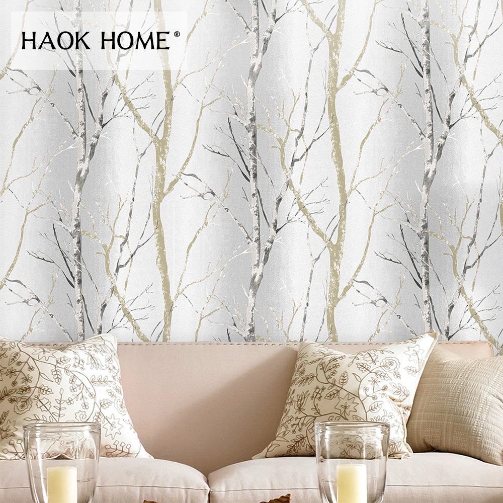 HaokHome Modern Birch Tree vinyl Wallpaper 3d Grey Realistic Contact Paper Home Bedroom Living room Kitchen Wall Decor wallpapers youman 3d brick wallpaper wall coverings brick wallpaper bedroom 3d wall vinyl desktop backgrounds home decor art
